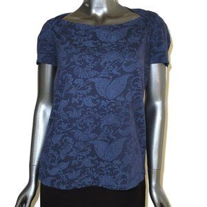 Lucky Brand Ladies Navy Damask Print Open Back Tee